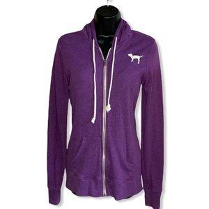 VS PINK Purple Love Pink Zip Hoodie